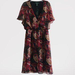 Ralph Lauren Dress Black Multi Floral V Neck
